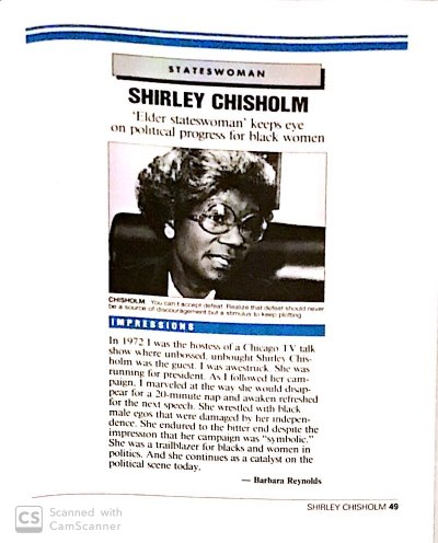 Shirley Chisholm full length interview feature in And Still We Rise Book By Dr Barbara Reynolds and USA Today